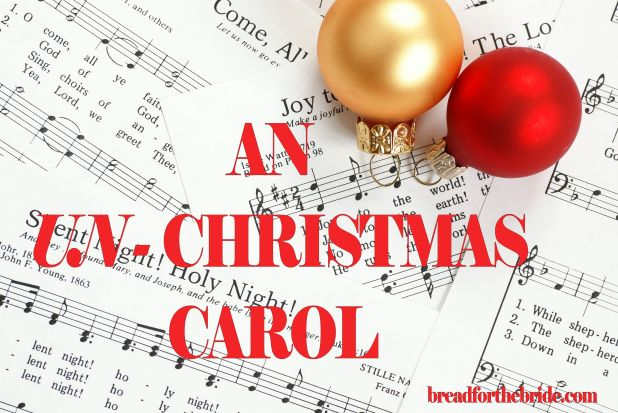 Music notes with Christmas carol and Christmas ornaments
